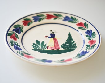 vintage Quimper hand painted decorative plate signed original French Breton character landscape decorative border pottery collectible plate