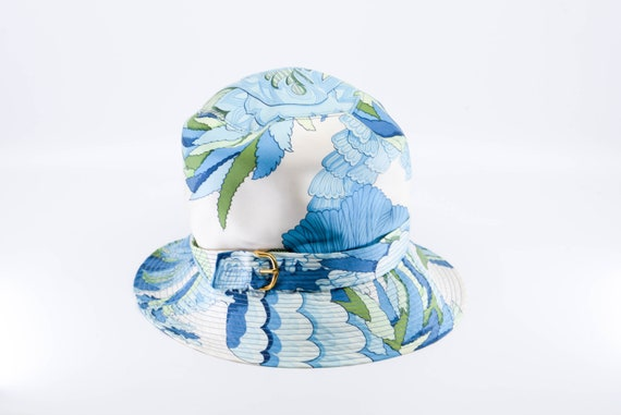 vintage silk HERMES PARIS sun bucket hat blue gre… - image 3