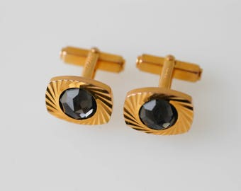 cufflinks midcentury modern retro black faceted centre gold plated galvanised metal french vintage swank dandy fashion for the groom wedding