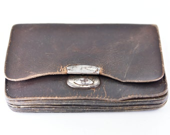 French vintage coin purse small battered brown leather flat pouch multi compartment distressed antique old accessory some seams need repair