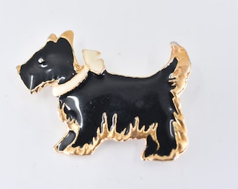 scottie dog brooch French vintage terrier westie pin black enamel gold tone metal cream collar collectible jewellery gift small dog lover