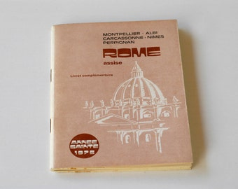 book ROME Assise pilgrimage brochure French vintage brochure by SIP Laronde Annee Sainte collectible rare religious book 1975