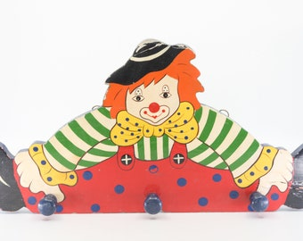 clown hook rack vintage colourful children nursery home decor organisation storage three peg large painted wood cutout rack for the wall