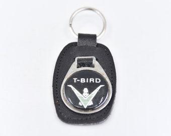 Ford car ring keychain English vintage T Bird black leather fob RENAMEL London England Thunderbird car accessory gift collectors item rare