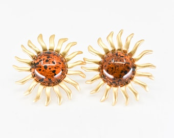 80s sunburst earrings clip on French vintage gold tone modernist style celestial bohemian jewellery new old stock made in France 1980s NOS