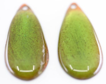 """green teardrop drop earring glass jewellery findings French vintage craft supply dichroic copper tone 4.5cm 1.7"""" matching pair"""