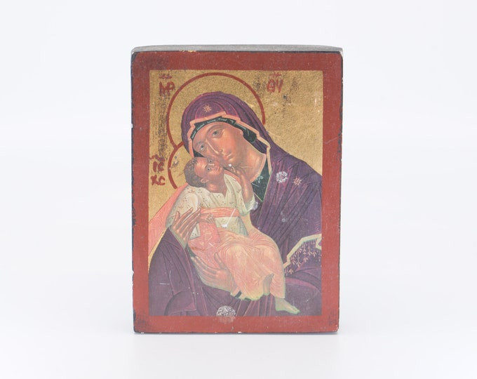 Featured listing image: Madonna Virgin Mary and child holy art icône russe religious wall art Russian vintage icon on wood religious spirituality home decor