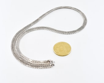 silver tone chain French vintage flat link special two tone effect gun and silvery metal herringbone chain necklace 43cm 20g made in France