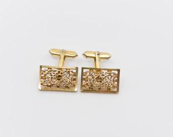 cuff links vintage modernist brutalist midcentury gold tone openwork metal dandy collectible jewellery for the groom formal shirt cufflinks