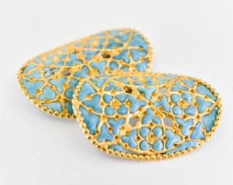 vintage belt shoe buckle matching pair turquoise enamel gold oval two pieces openwork craft supply fasteners stamped made in France rare