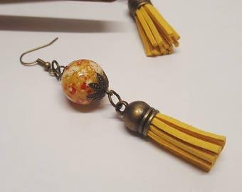 Earrings mustard yellow pom poms 3.8cms prints