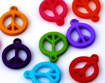 Set of 5 beads in synthetic Peace and love Blueberry color 17X14mm