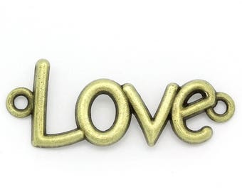 Connector pendant LOVE Bronze 4cms x 1.6cms
