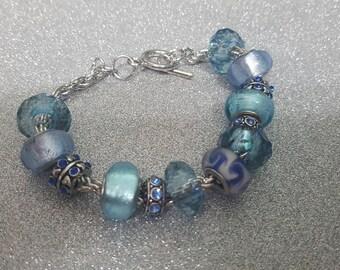Bracelet European beads blue tone