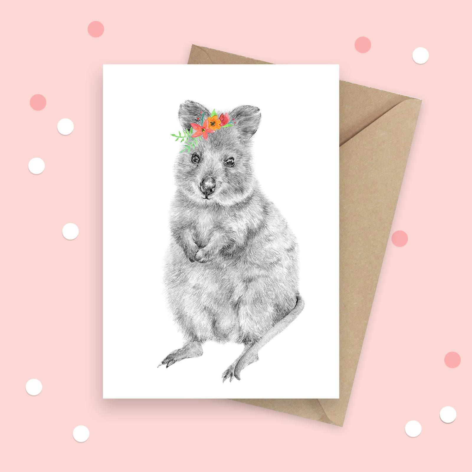 Quokka Greeting Card Australian Native Animal Birthday Card Etsy