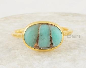 Amazonite Ring,Hammered Band Ring,Valentine Gift Natural Amazonite Oval Gold Ring Tiny Gemstone Ring Gemstone Rings 18k Gold Plated Ring