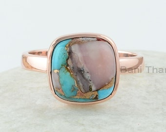 Turquoise Ring, Pink Opal Copper Turquoise 10 mm Cushion Ring, Rose Gold Plated Ring, 925 Sterling Silver Ring, Mojave Turquoise Ring