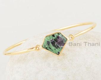 Ruby Zoisite Bracelet Anniversary Gift Ruby Zoisite 13x16mm Diamond Shape Gemstone Silver Bangle Multi-Color Gemstone Gold Plated Bangle
