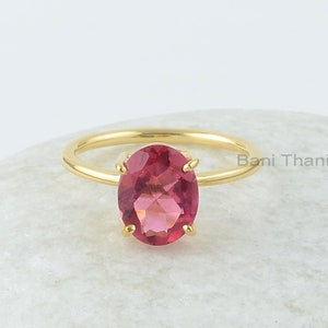 18k Gold Plated Ring 925 Sterling Silver Pink Tourmaline Quartz Ring Gift for Her 10x10mm Cushion Ring Gemstone Ring