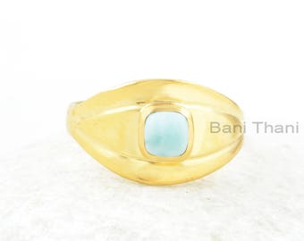 Larimar Ring, Larimar 5x5mm Cushion Gemstone Ring, Gold Plated Ring, Natural Gemstone Ring, Sterling Silver Ring, Gift For Valentines