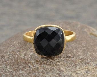 Black Onyx Ring, Black Onyx 10mm Cushion Gemstone Ring, 18k Gold Plated 925 Silver Ring, December Birthstone Ring, Solitaire Cushion Ring