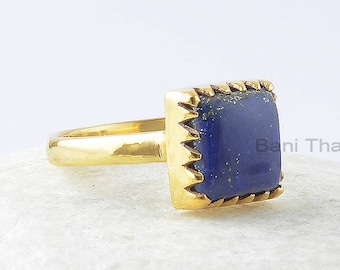 Lapis Lazuli Ring, Lapis Lazuli 10x14mm Square Sterling Silver Ring, Gemstone Ring, Gold Plated Ring, Zig Zag Ring, Wedding Gift For Her