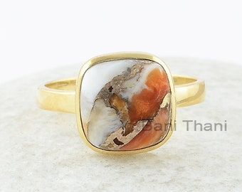Cushion Stone Ring, Copper Oyster 10x10mm Cushion Gemstone Ring, Sterling Silver Ring, Gold Plated Ring, Birthday Gift For Her