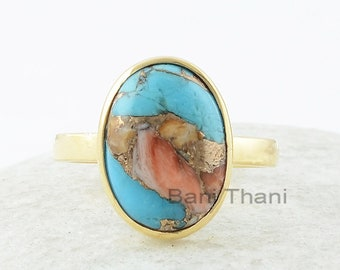 Copper Oyster Turquoise Ring, Copper Oyster Turquoise 10x14mm Oval Gemstone Ring, Bezel Set Ring, Gold Plated Ring, Jewelry Gift For Her