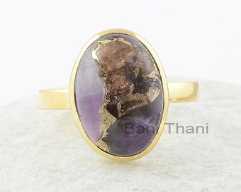 Copper Amethyst Ring, Copper Amethyst 10x14mm Oval Gemstone Ring, Gemstone Silver Ring, 18k Gold Plated Ring, Engagement Gift For Her