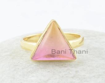Triangle Tourmaline Ring, Bio Tourmaline Doublet Quartz 11x11mm Silver Gemstone Ring, Triangle Gemstone Ring, Gold Plated Ring, Wedding Gift