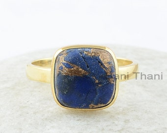 Copper Lapis Ring, Copper Lapis Lazuli 10x10mm Cushion Gemstone Ring, Sterling Silver Ring, Gold Plated Ring, Wedding Gift for Bride