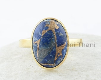 Copper Lapis Ring, Copper Lapis Lazuli 10x14mm Oval Silver Ring, Gemstone Silver Ring, Gold Plated Ring, Lapis Ring, Wedding Gift for Bride
