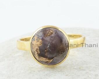 Copper Amethyst Ring, Copper Amethyst 10x10mm Round Gemstone Ring, Silver Ring, 18k Gold Plated Ring, Birthday Gift