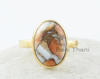 Copper Oyster Ring, Copper Oyster 10x14mm Oval Gemstone Ring, Sterling Silver Ring, 18k Gold Plated Ring, Gift For Bride
