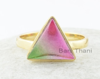 Tourmaline Ring, Bio Tourmaline Doublet Quartz 11x11mm Triangle Sterling Silver Ring, Triangle Gemstone Ring, Gold Plated Ring, Gift For Her