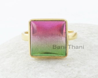 Silver Gemstone Ring, Bio Tourmaline Doublet Quartz 12x12mm Square Bezel Set Ring, Silver Ring, Gold Plated Ring, Gemstone Jewelry