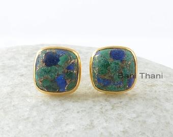 Azurite Sterling Earrings-Azurite 9x9mm Cushion Gemstone Stud Earrings-Silver Earrings-Gold Plated Earrings-Azurite Jewelry-Gift For Women