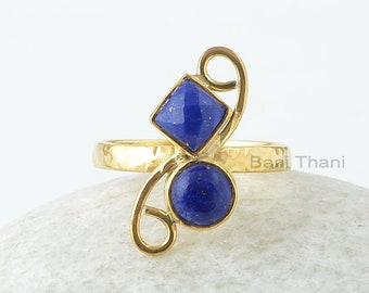 Lapis Silver Ring , Lapis Lazuli 5x5mm Square 6x6mm Round Silver Gemstone Ring, Lapis Ring, Gold Plated Ring, Wedding Gift For Mom
