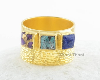 Sterling Silver Ring-Copper Purple 5x5mm Square-Tibetan Turquoise 5x5mm Square-Lapis 5x5mm Square Sterling Silver Gemstone Ring