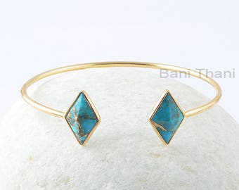 Copper Turquoise Bracelet, Blue Copper Turquoise 10x16mm Diamond Pyramid Gemstone Bangle, Sterling Silver Bangle, Gift For Valentines Day