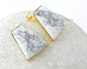 White Howlite Earrings-White Howlite 16x20mm Fancy Gemstone Silver Earrings-Gold Plated Earrings-Studs Earrings-Engagement Gift For Her
