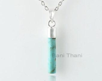Arizona Turquoise Necklace-Arizona Turquoise 4x22mm Long Roundel Silver Necklace-Gemstone Necklace-925 Silver Necklace-Gift For Women