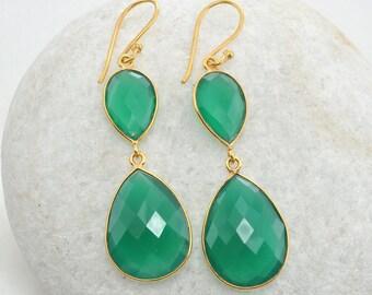 925 Sterling Silver Dangle Drop Earrings Natural Green Onyx Gemstone Earrings Round Shape Onyx Earring J710 Briolette Cut Onyx Earrings