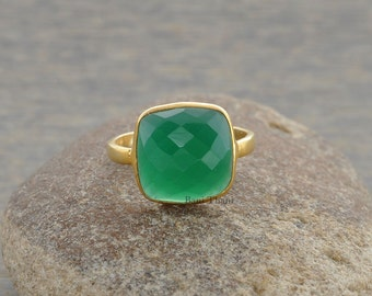 Green Onyx 10mm Cushion Gemstone Ring-925 Sterling Silver Gold Plated Ring-Birthstone Ring-Delicate Ring-Statement Ring, Handmade Gift Ring