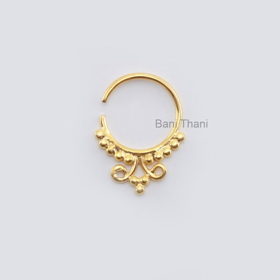 Indian Nose Ring Gold Plated 925 Sterling Silver Nose Ring Etsy