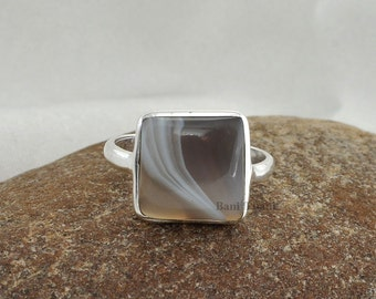 Sterling Silver Loose Gemstone Bezel Ring Botswana Agate Square Shape Engagement Ring 10x10mm- #1040