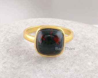 Bloodstone Gemstone Ring, Bloodstone Silver ring, 10mm Cushion ring, Gold Plated Ring, 925 sterling silver ring #1048