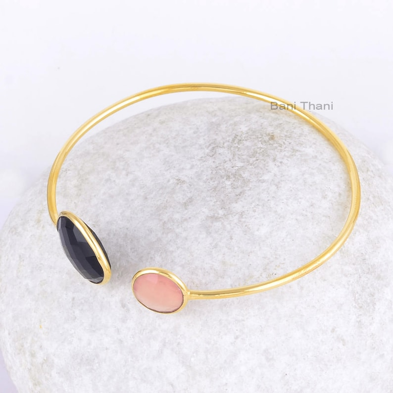 Black Onyx Bangle-Black Onyx Heart 18x18mm /& Pink Chalcedony 10x10mm Round Gold Plated Sterling Silver Bangle-Pink Chalcedony Bangle