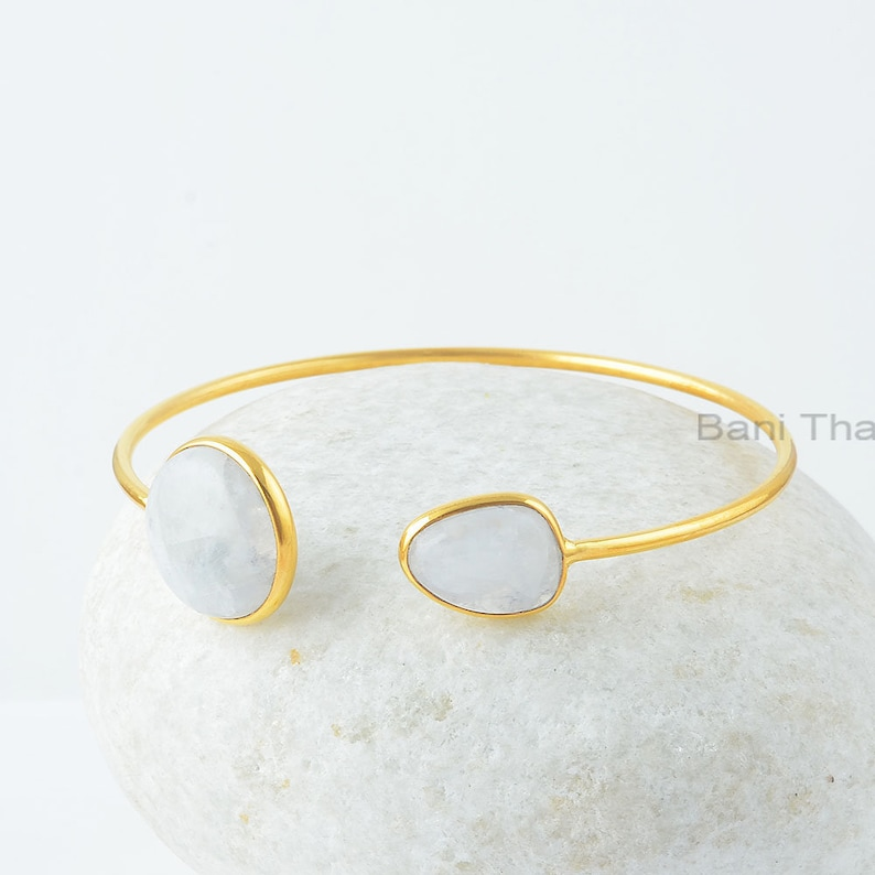 Rainbow Moonstone Bangle Gold Plated Bangle Gift For Bride Rainbow Moonstone 17x17mm Round 11x14mm Nugget Silver Gemstone Bangle