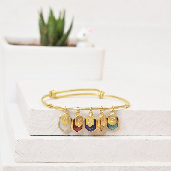 Family Tree Bracelet, Personalized Birthstone Bangle, Mommy Bracelet, Custom Initial Jewelry Gift, Hexa Charm Gemstone Bracelet For Women
